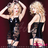 性感睡衣 情趣睡衣 情趣用品 7-11取貨付款 超商取貨 CICILY-性感黑寡婦 塗膠漆皮性感彈力緊身裙