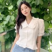 夏季新款韓國chic浪漫花邊翻領短袖襯衫女設計感娃娃衫小眾上衣