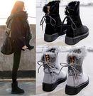 冬季加絨女短靴防滑厚底雪地靴中筒學生棉靴...