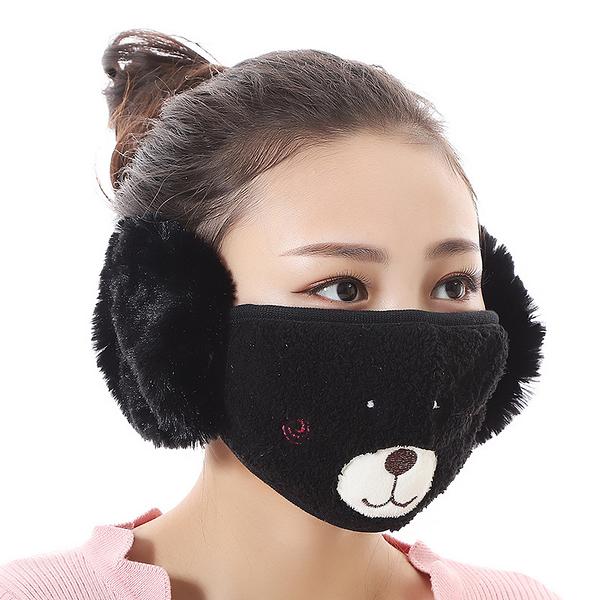 【獨愛3C用品】【買三送一】冬季必備保暖卡通造型小熊絨毛防塵口罩耳罩二合一(編號2/酒窩黑)