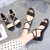 新品涼鞋 露趾涼鞋女 新款平底學生簡約沙灘鞋百搭韓版仙女風羅馬鞋潮