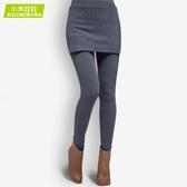 假兩件褲裙 打底褲女加絨外穿加厚秋冬新款帶裙子的一體褲包臀假兩件褲裙 曼慕衣櫃