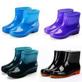 中筒雨鞋男短筒水鞋女膠鞋廚房防水防滑高筒雨靴男女工作鞋牛筋底 芭蕾朵朵