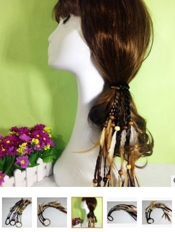 得來福,H506頭飾波西米亞印地安民族風手作羽毛串珠造型假髮編織流髮帶髮圈髮繩髮飾,售價100元