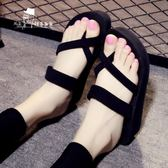 厚底拖鞋女夏海邊外穿高跟拖鞋時尚坡跟平底防滑沙灘鞋涼拖人字拖 33-42