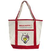 小禮堂 Hello Kitty 橫式帆布側背袋 帆布手提袋 書袋 帆布袋 (米紅 燈泡臉) 4550337-54652