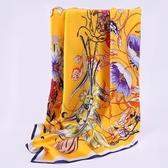 桑蠶絲圍巾-高雅奢華百花綻放女絲巾4色73hx61【時尚巴黎】