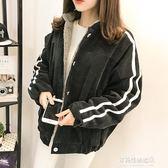 棒球服加絨加厚棒球服棉衣少女新款中學生冬季韓版蝙蝠袖棉服外套多莉絲旗艦店