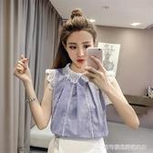 娃娃領上衣 2020夏裝短袖韓范娃娃領鏤空蕾絲打底衫拼接雪紡襯衫女顯瘦上衣服