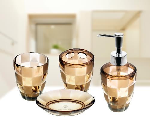 Grid 衛浴四件組-棕色 (肥皂盤、牙刷杯、牙刷架、乳液瓶)【mocodo 魔法豆】