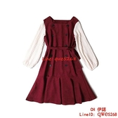 早秋季女裝潮網紅時尚假兩件套裝氣質紅色連身裙子【CH伊諾】