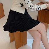 韓國製.法式俏皮百褶後綁帶鬆緊短裙.白鳥麗子