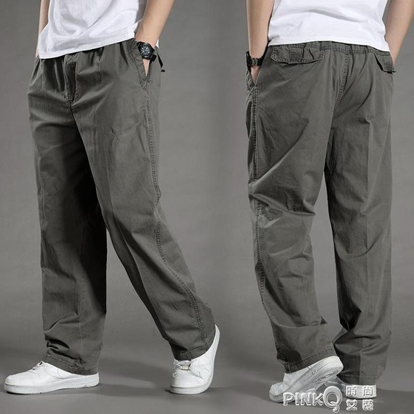 夏季新款男士休閒褲加肥加大工裝褲薄款寬鬆特大碼鬆緊腰圍肥佬褲 (pinkq 時尚女裝)