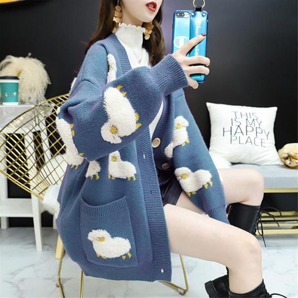 針織外套 毛衣女寬鬆外穿加厚春裝新款韓版慵懶風針織衫開衫外套春秋 - 古梵希