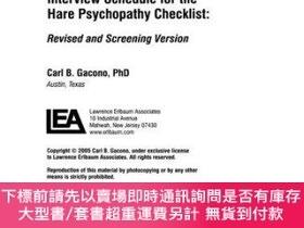二手書博民逛書店Clinical罕見And Forensic Interview Schedule For The Hare Ps