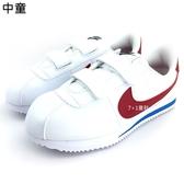《7+1童鞋》中童 NIKE  Cortez Basic SL PSV 阿甘 紅白 魔鬼氈 慢跑鞋 F826 紅色