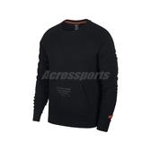 Nike 長袖T恤 AS Lebron M NK LS Crew 黑 男款 James 大學T 運動休閒 刷毛 【PUMP306】 BV3633-010