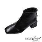 短靴 簡單俐落方頭中跟短靴(黑)*BalletAngel【18-A855bk】【現+預】
