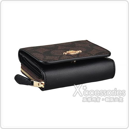 COACH 金字LOGO印花PVC牛皮3卡拉鍊扣式短夾(棕褐x黑)