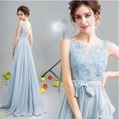 M-顯瘦時髦 藍色花蔓新娘結婚敬酒服晚宴年會婚紗禮服伴娘服283