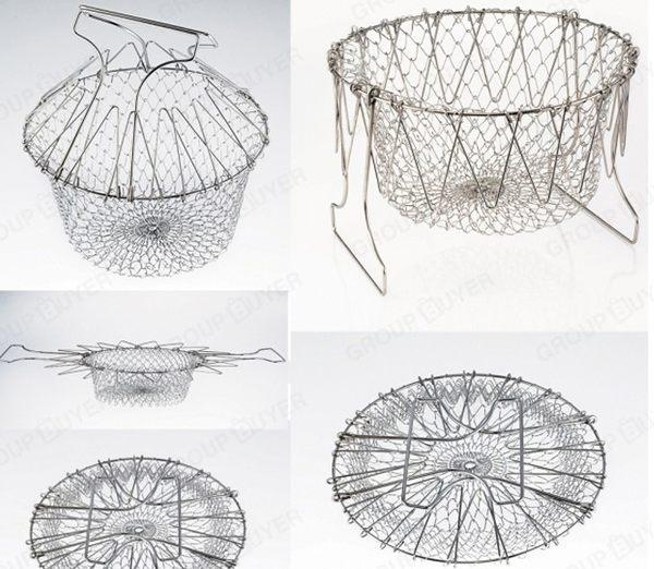 【現貨/預購】廚師籃油炸籃瀝油籃 摺疊式食物瀝水籃【H00454】
