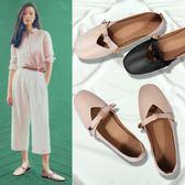 新款夏季奶奶鞋女復古淺口韓版百搭學生方頭一腳蹬單鞋豆豆鞋 米娜小鋪