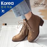 靴.繫帶高跟短靴-FM時尚美鞋-韓國精選.young