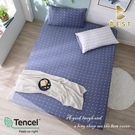 【BEST寢飾】天絲床包二件組 單人3.5x6.2尺 一粒落塵-藍 100%頂級天絲 萊賽爾 附正天絲吊牌 床單