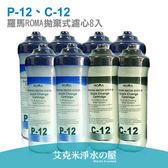 羅馬ROMA拋棄式濾心P-12(5MPP纖維)+C-12(活性碳)《8入組》