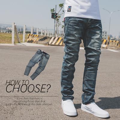 牛仔褲 微刷色後口袋皮革線條素面牛仔褲【N9825J】