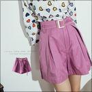 URES 紫色釦環系帶打折短褲 家琪購物清單【881012218】