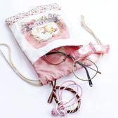 束口袋小布袋 抽繩袋迷你可愛卡通學生 帆布手機零錢包旅行收納袋