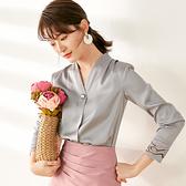 雪紡衫-V領純色簡約一粒扣長袖女襯衫2色73xa45[巴黎精品]