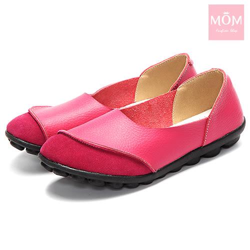 異材質拼接純色小圓頭舒適真皮樂福鞋 桃 *MOM*
