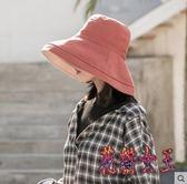 雙面漁夫帽 女夏百搭日系防紫外線遮臉太陽帽子遮陽防曬帽 BT7467【花貓女王】