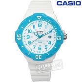 CASIO 卡西歐 潛水風格 迷你運動錶 32mm 白色 水藍色 / LRW-200H-2B