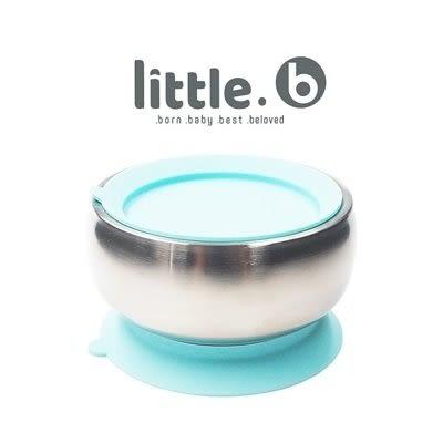 美國 little.b 316不鏽鋼餐具系列|雙層不鏽鋼吸盤碗-寶貝藍