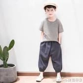 童裝男童春裝套裝2020新款中大童兒童春季帥氣兩件套男孩棉麻潮衣 美芭