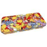 〔小禮堂〕迪士尼 小熊維尼 日製掀蓋鐵製鉛筆盒《橘紅.滿版》收納盒.鐵筆盒.筆袋 4518645-23256