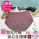 女性超加大尺碼3XL-4XL生理內褲 加大竹炭防水布 透氣貼身 MIT台灣製 No.8882(5件組)-席艾妮SHIANEY