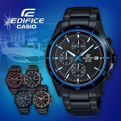 CASIO手錶專賣店 卡西歐 EDIFICE EFR-526BK-1A2 男錶 賽車錶 碼錶 三針三圈設計 防水100米 不鏽鋼錶帶