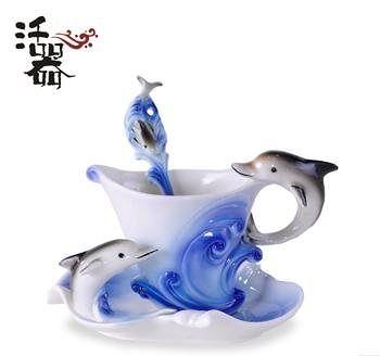 活器 琺琅瓷 歐式咖啡  海豚故事