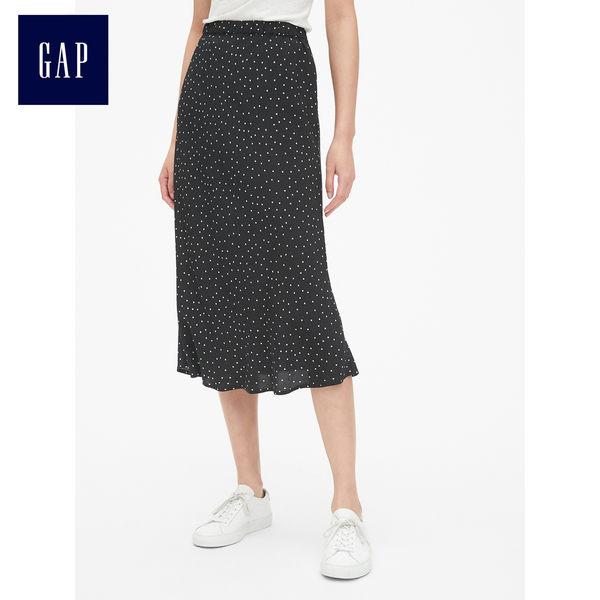 Gap女裝 活力波點印花花邊半身長裙 468671-波點