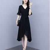 洋裝中大尺碼 甜美大碼女裝雪紡連身裙2021新款夏季氣質赫本女神范魚尾荷葉邊小黑裙