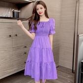 短袖洋裝 2020新款法式小眾桔梗連身裙收腰顯瘦氣質褶皺木耳邊短袖裙子女夏 韓國時尚週