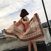 民族風防曬披肩紗巾女海邊度假沙灘披巾夏季新款百搭薄款絲巾