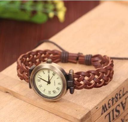 手錶女  編織繩皮帶韓版復古羅馬手鍊表  汪喵百貨
