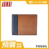 FOSSIL Ward 海軍藍色真皮RFID零錢包短夾 男 ML3919400
