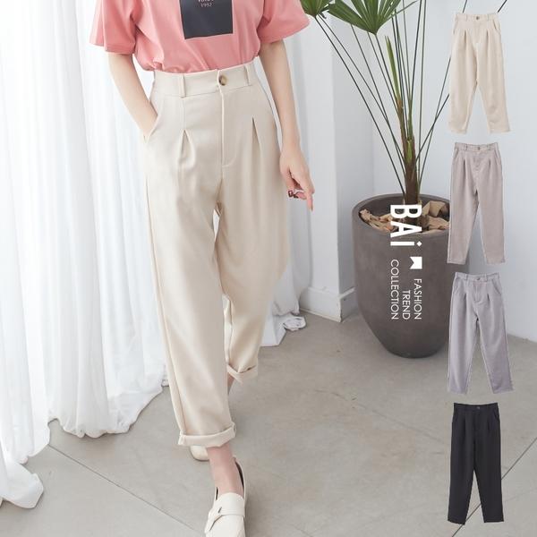 西裝褲 純色單釦打摺後鬆緊休閒褲-BAi白媽媽【301117】