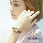 女錶復古手錶學生酒桶韓版簡約時尚潮流真皮帶時裝機械石英錶防水QM『蜜桃時尚』